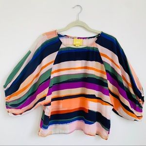 Maeve | Silk Multicolored Striped Blouse